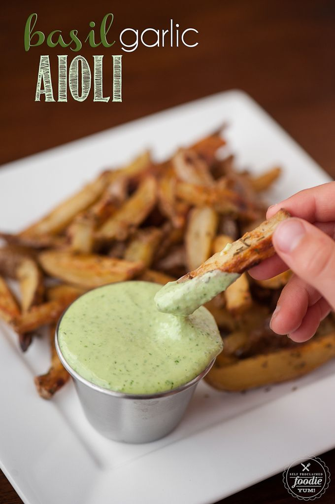 Basil Pesto Aioli - Only takes a few minutes and the result is a flavorful dip or spread that packs a real raw garlic punch.