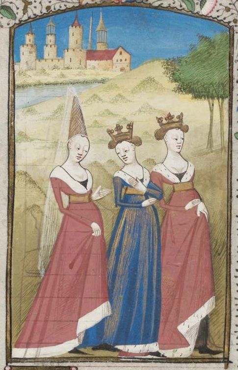 "Christine discussing wives' love for their spouses with Raison and Justice (wearing crowns). From Christine's ""La Cité des dames"", in Genève, Bibliothèque de Genève, MS. fr. 180, f. 63r. Manuscript dates to 2nd half of 15th century"