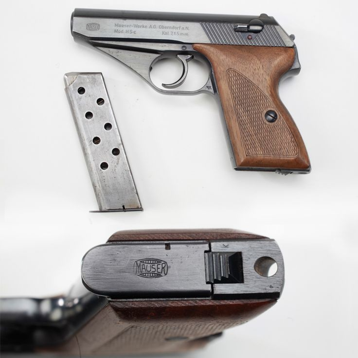 Mauser HSc Pistol - The Mauser HSc Pistol was highly sought after during the Second World War as the Mauser factory received a contract from the German War Ministry for the full production output of this model pistol. A sleek double-action pocket pistol in 7.65mm (.32), the HSc has a hammer that is almost completely concealed by the slide. Nearly a quarter million were built before the end of the war in 1945.