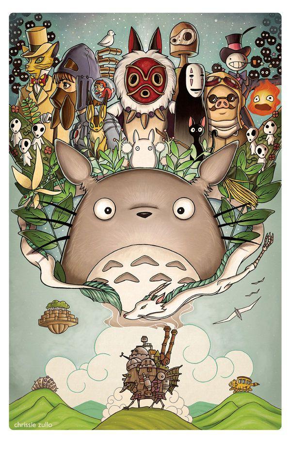 "✏️Peinture the world of Ghibli ""Totoro, Howl's Moving Castle, Spirited Away, Nausica, Princess Mononoke, Ponyo, The Kingdom of Cats, etc ..."" ~ [Studio Ghibli]"