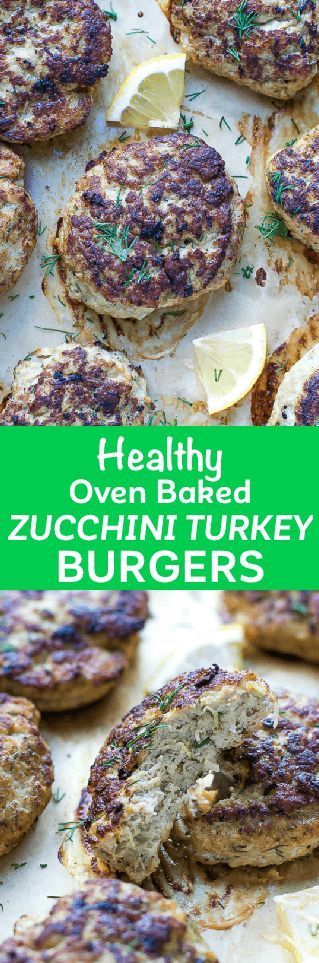 Oven Baked Turkey Zucchini Burgers Recipe - juicy, healthy, flavorful and quick to make. Low calorie and low fat, baked to perfection in the oven. via @cookinglsl