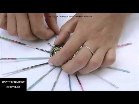 Gazeteden kalemlik yapımı/ /TUTORIAL Pen holder - YouTube