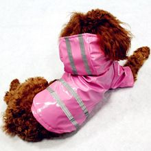 100% Waterdichte Hond Regenjas Reflecterende Strip Hond Kleding Regenjas Glinsteren Voor Kleine Medium Puppy Hond Regenjas Hooded 4 Kleur(China (Mainland))