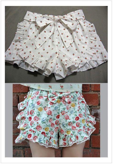 Girls ruffle edged shorts pdf sewing pattern RUFFLED SHORTS sizes 2 - 12 years.