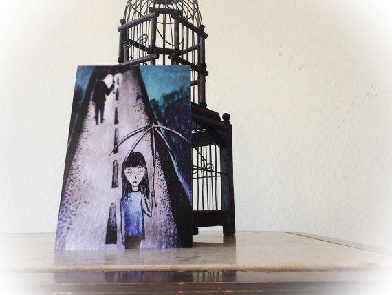 Trauriges Mädchen - Regen - Original Illustration - Kunst - Kleingedruckten - Drawing - Mädchen - Regenschirm - dunkle Kunst