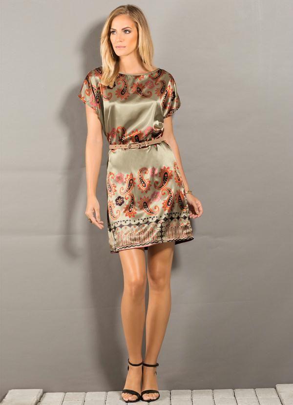 Vestido em Cetim com Estampa de Lenço - Posthaus