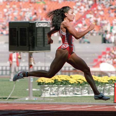 "Known as ""Flo-J0"", she had style, she was graceful and most of all she was FAST.  World and Olympic Record holder for both 100 and 200 meter events."
