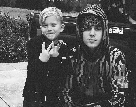 Justin Bieber and his brother Jaxon
