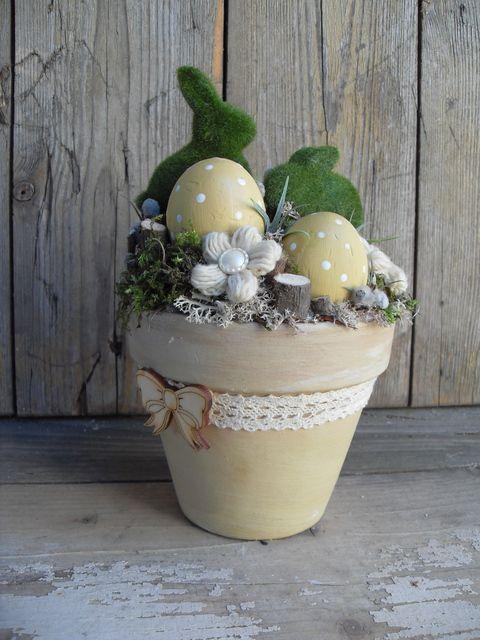 Nyuszi ül a fűben - húsvéti asztaldísz Dekoráció, Otthon, lakberendezés, Húsvéti apróságok