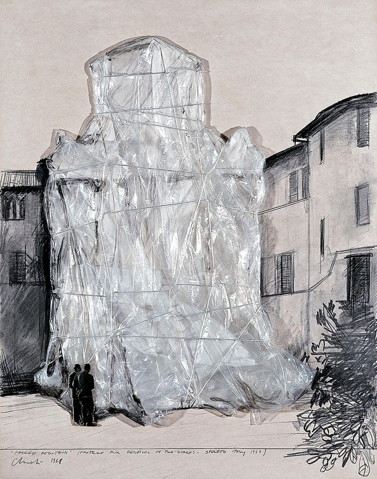 """Christo """"Packed Fountain"""" (Project for Festival of Two Worlds - Spoleto Italy 1968) Collage 1968 28 1/4 x 22 1/4"""" (71.5 x 56.5 cm) Pencil, polyethylene, rope, wax crayon, charcoal and cardboard"""