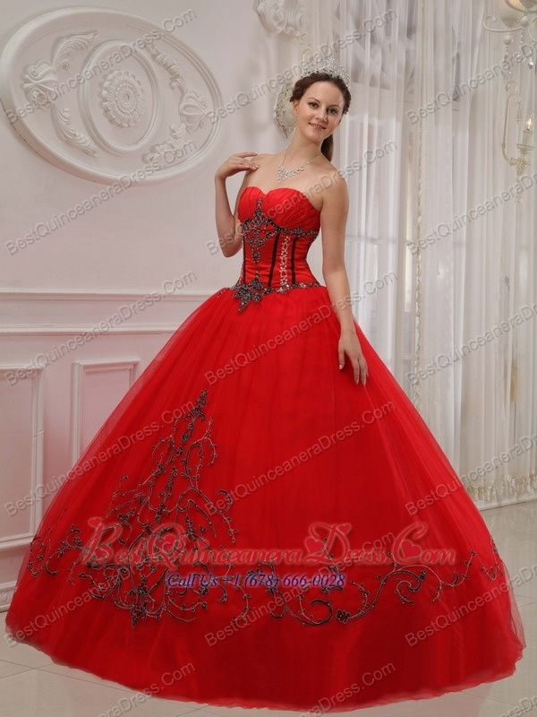 Home :: 15th Birthday Dresses :: Red Ball Gown Sweetheart Floor-length ...