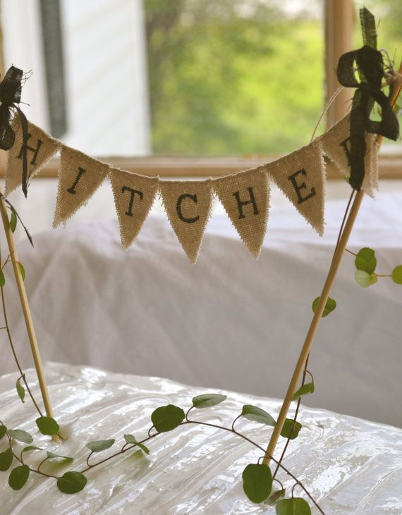 Hitched Baker Banner wedding cake topper by atcompanyb on Etsy, $15.00