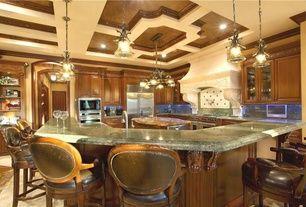 Mediterranean Kitchen with Pendant light, Undermount sink, Flush, Complex granite counters, Classico bar stool, Raised panel