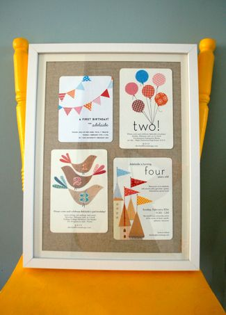 Sharilyn of Lovely Design has set the goal of designing her daughter's birthday invitations every year. She's clearly a talented graphic designer — but it's what she did with the invites AFTER the birthday that really caught our attention. Sharilyn framed four birthday invites and created a unique decor piece for her growing girl's room.