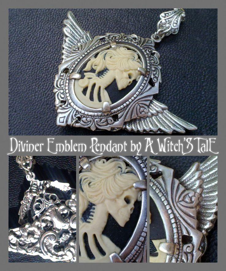 """Diviner Emblem Pendant"" by A Witch's Tale Instagram: https://www.instagram.com/awitchstale/ #death #skeleton #grimreaper #jewels #pendant #awitchstale #crystal #craft #witch #amulet #accessory #silver #gothic #dark #necklace #diviner #emblem #bijoux"