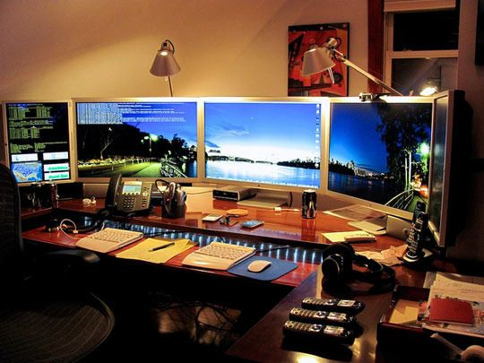 Mitch 39 S Multi Monitor Over The Top Home Office The Nerds Home And Keyboard