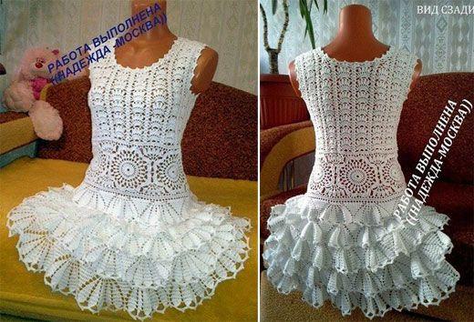 Белое платье для девочки. Крючком