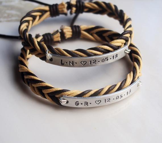 Personalized Boyfriend Girlfriend Bracelets Couples Bracelets Set Couple Date Bracelet Stamp Matching Co In 2020 Girlfriend Gifts Matching Couple Gifts Couple Gifts