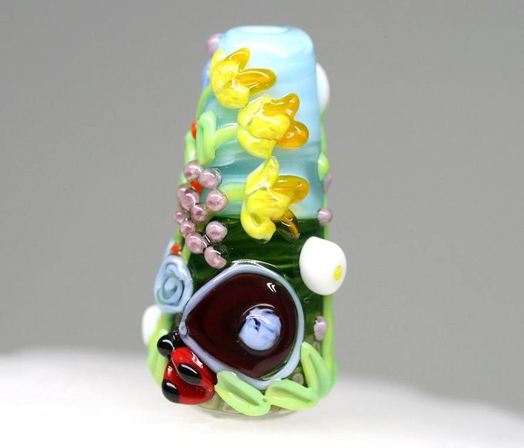 Fairy garden door Daffodil bead Floral lampwork bead Yellow Flowers focal pendant Ladybugs Blue Green glass bead artisan SRA focal by MayaHoneyLampwork on Etsy
