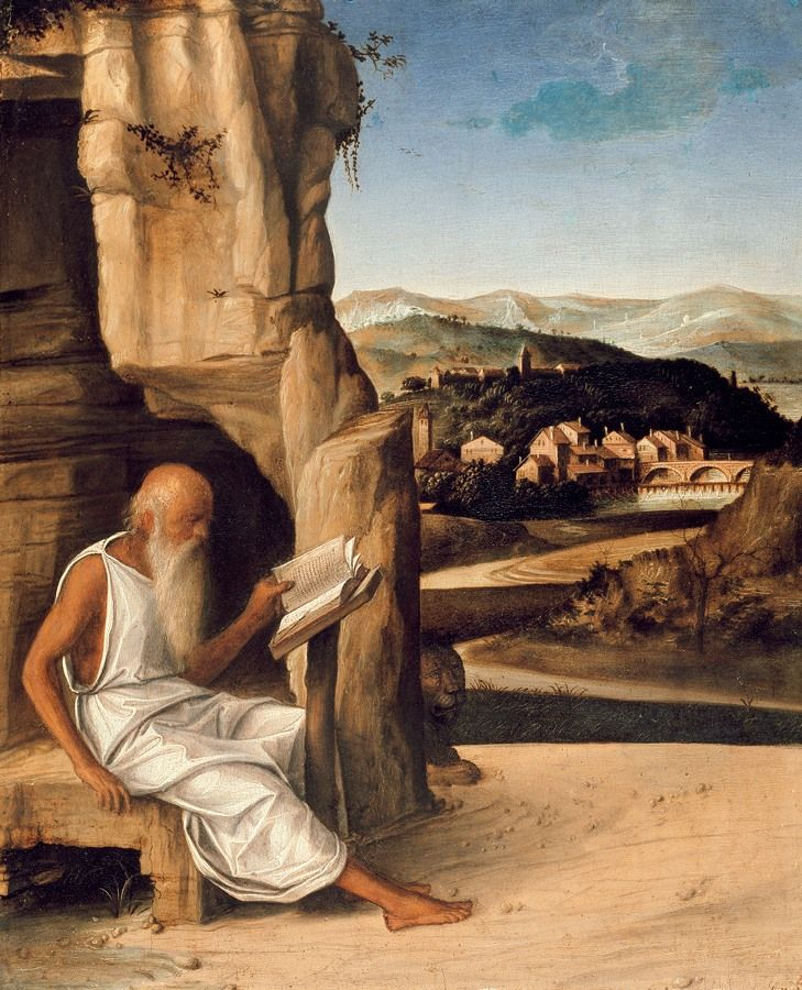Today is the feast day of St Jerome who retired to the desert to lead a life of prayer & penance, and befriended a lion by removing a thorn from its paw. This tempera & oil painting on panel from the circle of Giovanni Bellini, on display in Gallery 43, shows the saint reading in a rocky wilderness (with the lion behind the rocks). In the background is a landscape typical of the northern Veneto. Devotional images were often given specific local settings to help with prayer and meditation.