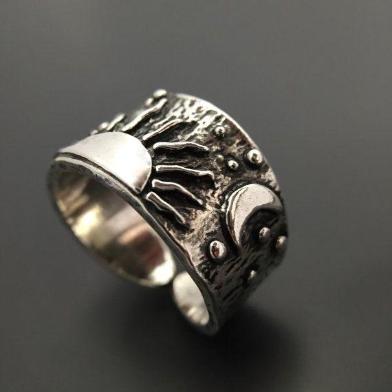 Sterling zilveren zon maan sterren Ring handgemaakte Wild Prairie zilveren sieraden door Joy Kruse