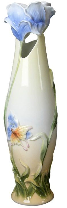 Iris and Butterfly Porcelain Vase