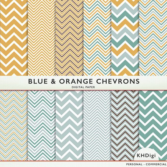 Blauwe en oranje Chevron digitale papier  12 van KHDigi op Etsy