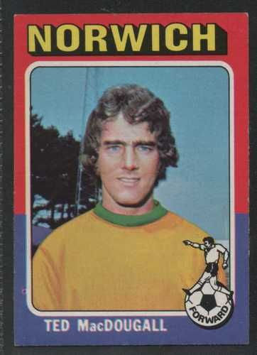 TOPPS - FOOTBALLER 1975 RED BACK #214 - NORWICH CITY - TED MacDOUGAL