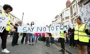 Campaigners at an anti-FGM march in Bristol