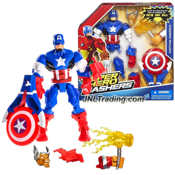 "Hasbro Year 2013 Marvel Super Hero Mashers Mash-Up Series 6"" Tall Figure - CAPTAIN AMERICA with Shield Launcher, Beta Ray Bill's Head & Left Hand"