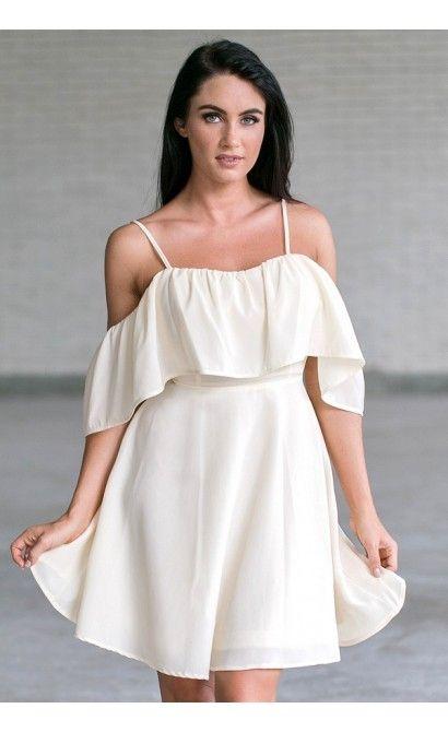 fae6be07723 Cream Off Shoulder Ruffle Dress Online