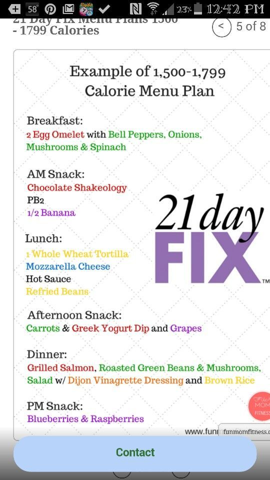 Day Fix Sample Menu Plan  Calories   Day Fix