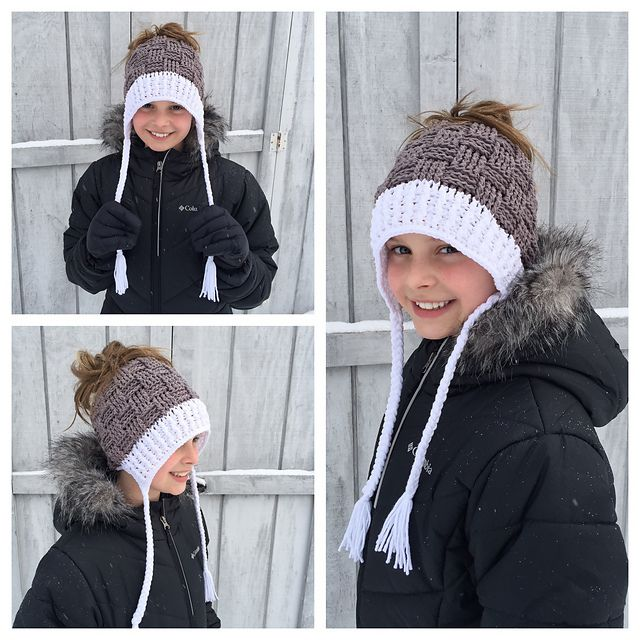 Crochet pattern for ponytail or messy bun beanie by Crochet by Jennifer