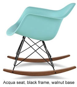 eames® molded plastic rocking chair, black frame
