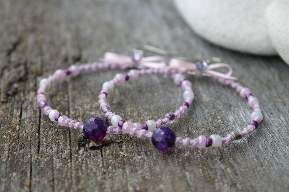 Light Purple Wedding earrings Hipster by HamelinsSecretGarden