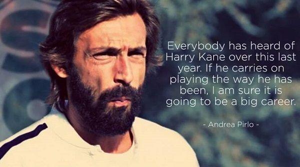 Czeka go wielka piłkarska kariera • Andrea Pirlo powiedział kilka ciepłych słów o Harrym Kane • Legenda o piłkarzu Tottenhamu >> #pirlo #quotes #football #soccer #sports #pilkanozna #kane