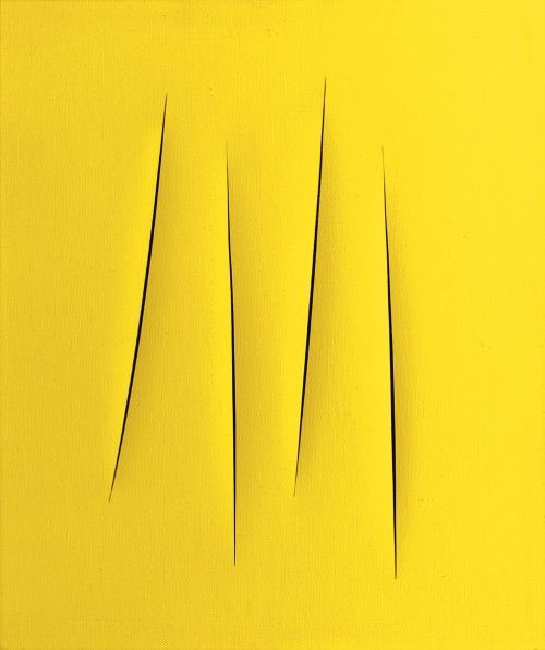 Lucio Fontana, Concetto spaziale, Attese, 1962 - 1963 waterpaint on canvas 25 3/4 x 21 1/2 inches 65.4 x 54.6 cm Fondazione Lucio Fontana Milan number 1737/70 SW 07131 Private Collection (photo courtesy of: www.speronewestwater.com)