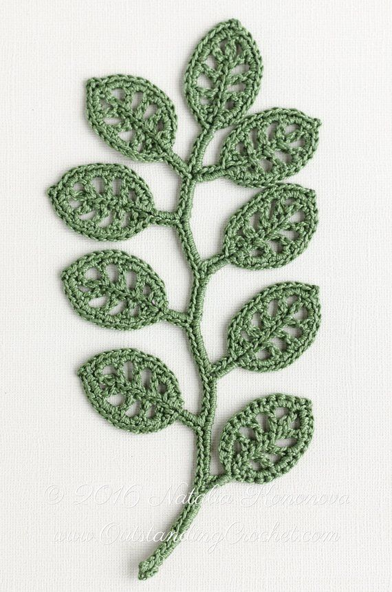 Irish Crochet Applique PATTERN – Branch – Crochet Gift Idea – Leaf – Lace Motif Embellishment – Wall Decoration – DIY Home Decor – PDF
