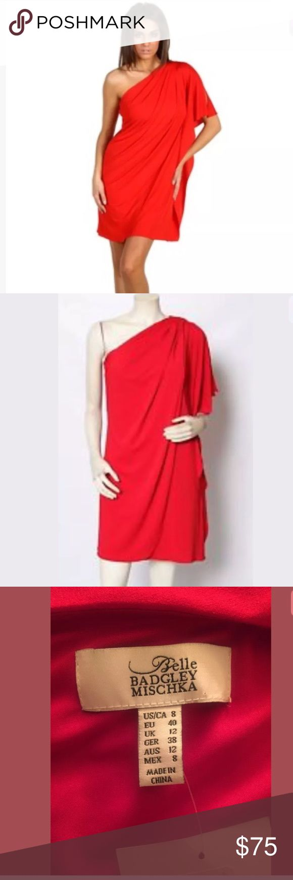 Belle BADGLEY MISCHKA Red One Shoulder Drape Dress Belle BADGLEY MISCHKA Red One Shoulder Drape Dress for sale! This dress is pre-owned, but barely worn, and new with tags! The original price was $149! Great condition! Badgley Mischka Dresses One Shoulder