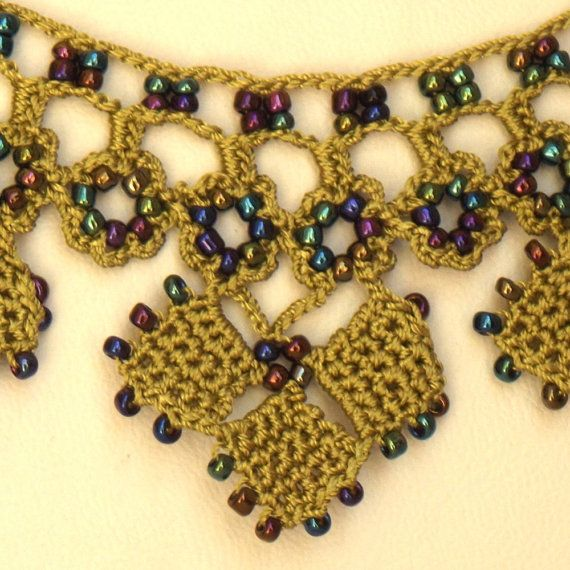 Turkish OYA Lace Necklace Diamond 2colors by DaisyCappadocia