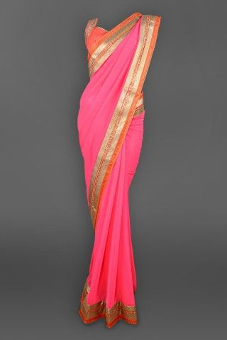 Featuring this beautiful Pink Georgette sari with a broad gota border which comes with a choli blouse in our wide range of Saris. Grab yourself one. Now!