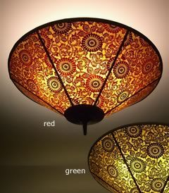 Round Green or Red Japanese  mica ceiling lamp