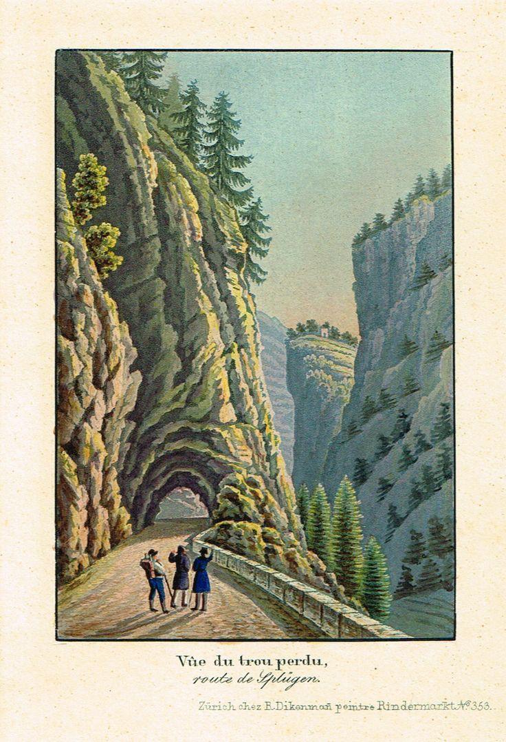 Vûe du trou perdu, route de Splügen - Zurich chez R Dikenmañ, peintre Rindermarkt N°353 - Aquatinte XIXème - MAS Estampes Anciennes - MAS Antique Prints