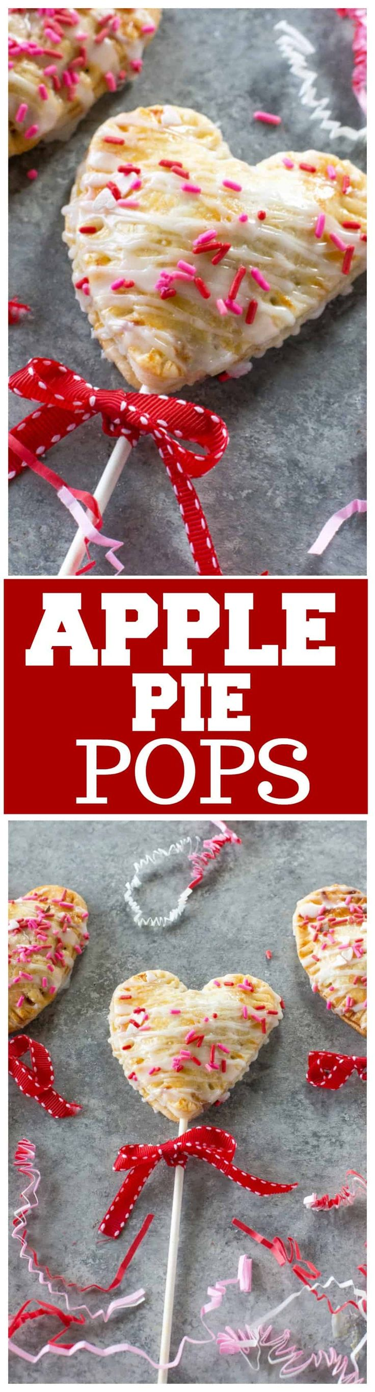 These Apple Pie Pops are heart shaped pies filled with cinnamon apples and drizzled with a powdered sugar glaze. Wrap them up with a bow for a cute Valentine's Day treat for a friend. the-girl-who-ate-everything.com