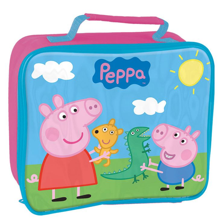 Peppa Pig Lunch Bag.  Get them excited for lunch.  Stylish lunch bag featuring Peppa and George playing with their favourite toys. #School  #schoolshoes #backtoschool #bmstores #bandm #bandmbargains #parents #children #kids #clothes #schooluniform #tumbler #drink #lunch #lunchbag #bag #lunchbox #peppa #peppapig