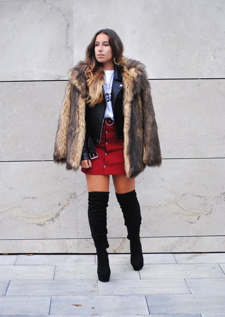Chic winter outfit. Button up mini skirt and faux fur coat. Trendencies