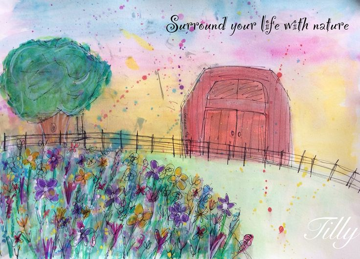 Love nature and you'll have a lovely life x watercolour Quote. Positivity