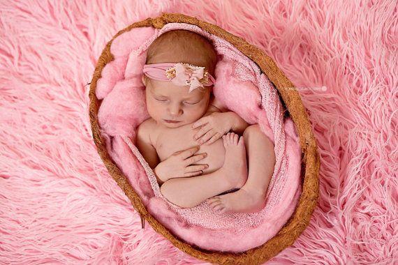 Pink Newborn Headband, Newborn Headband Prop; Handamde; Newborn Photo Prop; Newborn Props