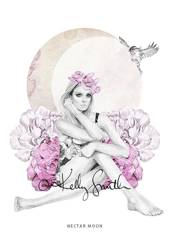 Nectar Moon LIMITED EDITION PRINT A3 by birdyandme on Etsy, $80.00