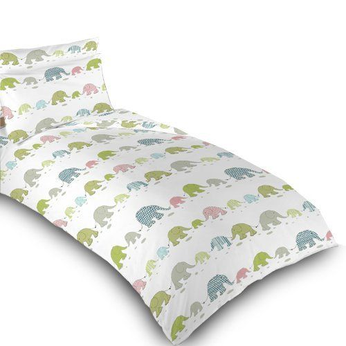 Childrens Single Bed Elephant Print Duvet Cover Set. Colour: White with Pink, Blue, Green & Grey Elephant Design. Size: 135cm x 200cm by Ready Steady Bed, http://www.amazon.co.uk/dp/B00A9VG8SI/ref=cm_sw_r_pi_dp_DAnhsb14WVEPK